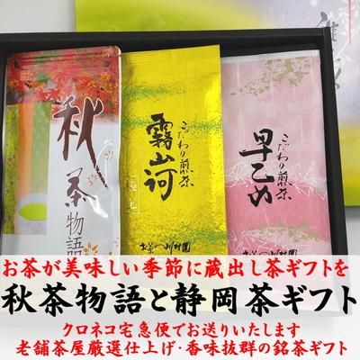 【秋のお茶ギフト】 秋茶物語(蔵出し知覧茶)と こだわり静岡茶の詰合せギフト