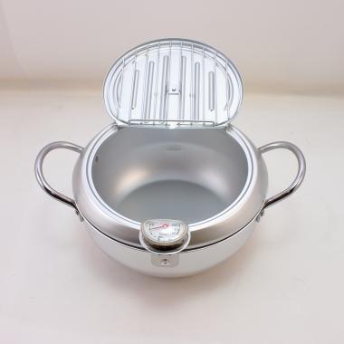 味楽亭II フタ付天ぷら鍋(温度計付)