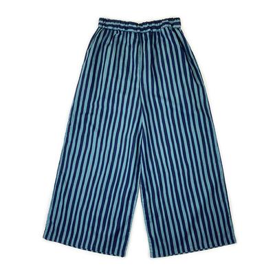 【受注後約2週間でお届け】#187 ワイドパンツ 綿麻『縞』 紺×天鵞絨 Mサイズ