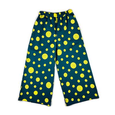 #192 ワイドパンツ 綿コーマ『大小水玉』 深緑×レモンイエロー Mサイズ 柄パターンB
