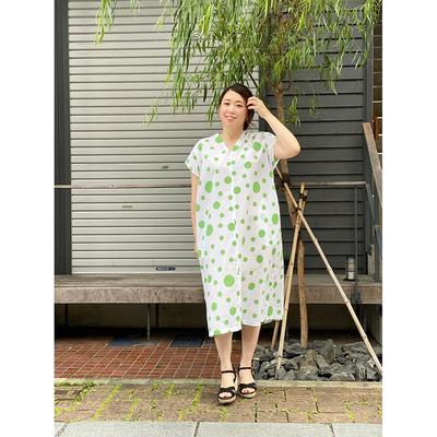 【受注後約2週間でお届け】#053 Vネック 綿紅梅『大小水玉』白グリーン Fサイズ