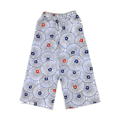 #194 ワイドパンツ 綿コーマ『万寿菊』 白×紺 Mサイズ