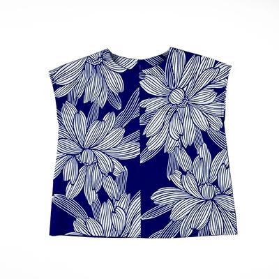 #211 フレンチブラウス 綿コーマ『大菊』 納戸×白 Mサイズ