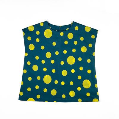 #213 フレンチブラウス 綿コーマ『大小水玉』深緑×レモンイエロー Mサイズ