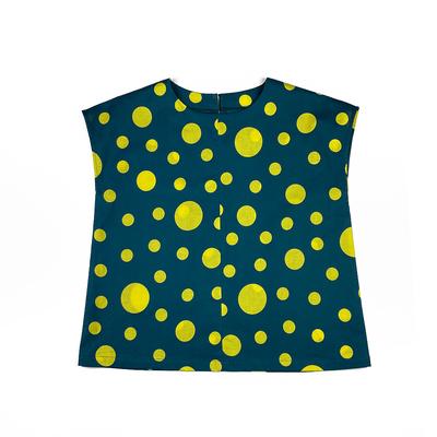 #215 フレンチブラウス 綿コーマ『大小水玉』深緑×レモンイエロー Lサイズ