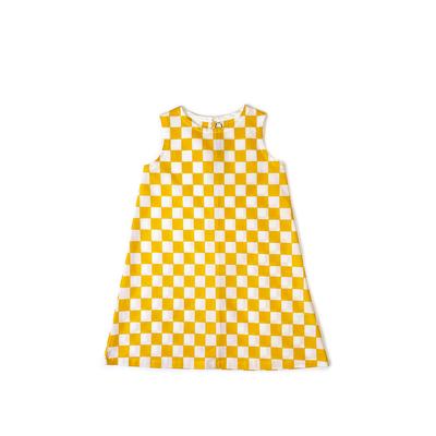 #220 姫わんぴ 綿コーマ『市松』白×黄 130サイズ
