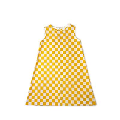 #231 姫わんぴ 綿コーマ『市松』白×黄 150サイズ