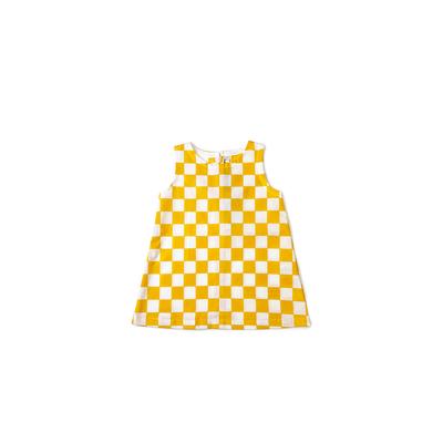 #229 姫わんぴ 綿コーマ『市松』白×黄 90サイズ