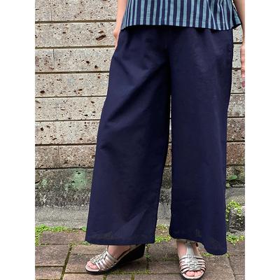 【再入荷】#250 ワイドパンツ 綿麻『 無地』濃紺 Sサイズ