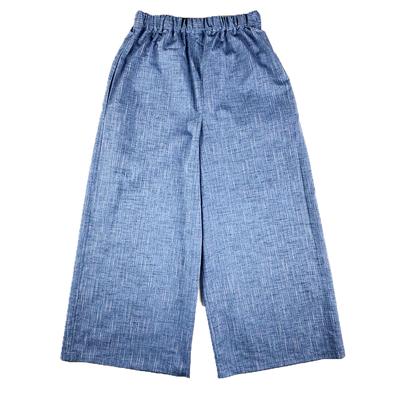【受注後約2週間でお届け】#248 ワイドパンツ 綿つむぎ『縞』青鼠 Mサイズ