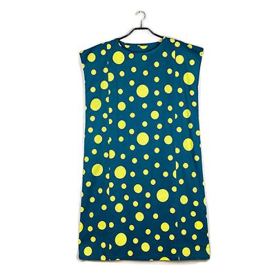 #271 ゆったりワンピース 綿コーマ 『大小水玉』深緑×レモンイエロー Mサイズ