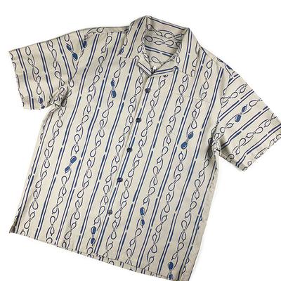 #274 アロハ 綿コーマ『縞に瓢箪』グレー Lサイズ