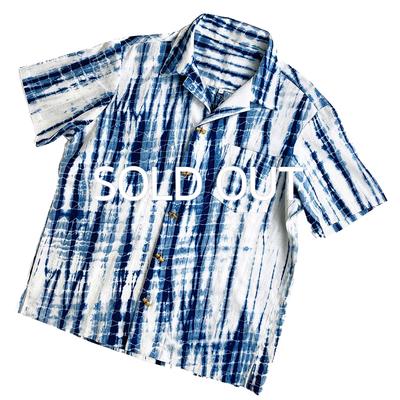 #163 藍染めアロハ インド綿 『手筋絞り』 Mサイズ 特殊ボタン(バンブー)