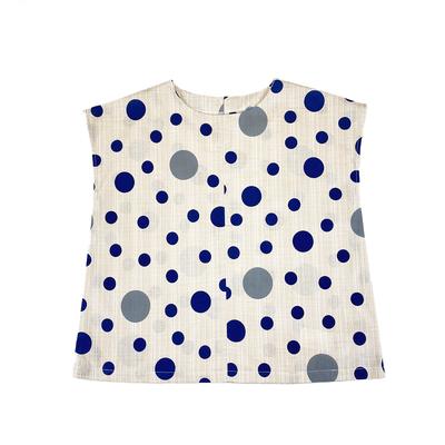 【受注後約2週間でお届け】#297 フレンチブラウス 茶絣『大小水玉』きなり×紺×グレー Lサイズ