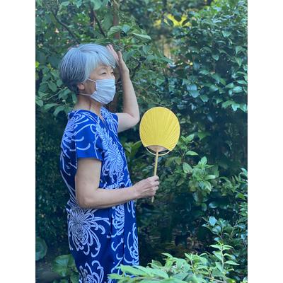 #313 袖なし湯上り 綿絽『乱菊』紺×白  フリーサイズ
