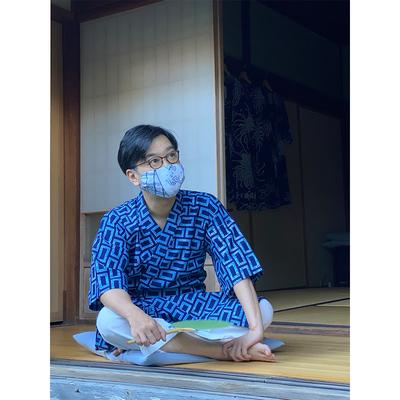 #326 袖付き湯上り 綿コーマ『ローケツれんが』 Mサイズ