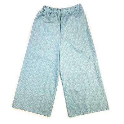 #337 ワイドパンツ 水色絣『縞無地』 Sサイズ
