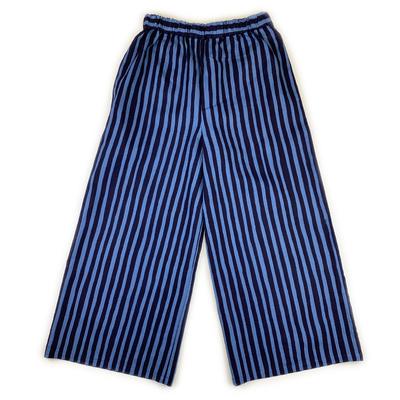 #367 ワイドパンツ  綿麻『縞』紺×青鼡 Mサイズ
