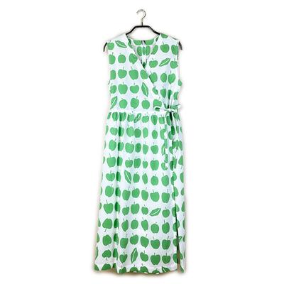 【受注後約2週間でお届け】#372 カシュクール 綿コーマ『青りんご』白×緑 Mサイズ