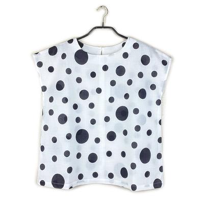 #386 フレンチブラウス 綿紅梅『大小水玉』白×黒 Lサイズ