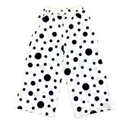 #396 ワイドパンツ 綿紅梅『大小水玉』白×黒 Sサイズ