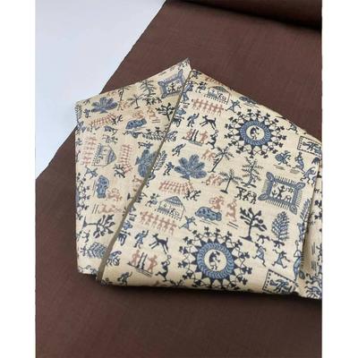 半巾帯 タッサーシルク『木版更紗(きなり地)』