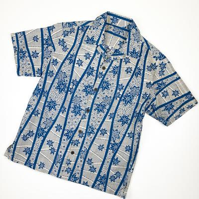 #063 アロハ 茶絣『立涌に菊紀葉』 藍 Mサイズ