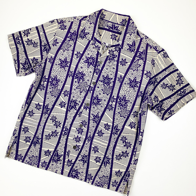 #062 アロハ 綿コーマ『立涌に菊紅葉』 紫 Mサイズ
