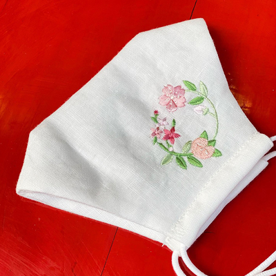 #10 ワンポイント刺繍入り麻マスク 花の丸柄