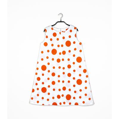 #101 姫わんぴ 綿コーマ『大小水玉』オレンジ 150サイズ