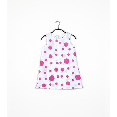 #102 姫わんぴ 綿コーマ『大小水玉』ピンク 110サイズ 柄パターンA