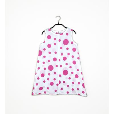 #105 姫わんぴ 綿コーマ『大小水玉』ピンク 130サイズ