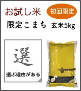 お試し米:限定こまち玄米5kg