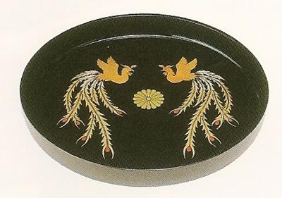 菊紋入・丸盆(鳳凰)