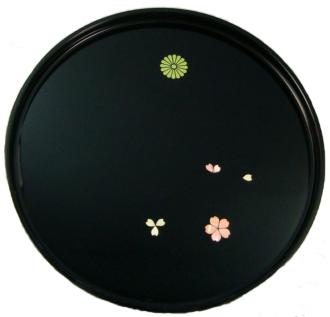 菊紋入・丸盆貝入り(桜)
