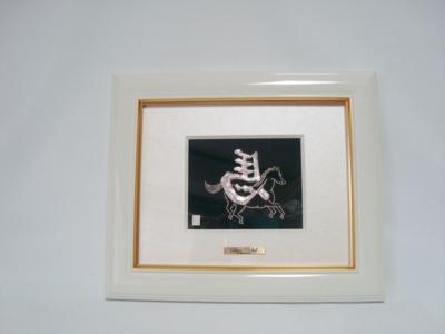 菊紋付・純銀製アートレリーフ(左馬)