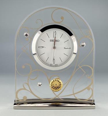 置時計(クオーツ時計)スワロフスキー®・菊紋付き