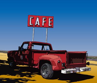 Midpoint Cafe. Adrian, TX ミッドポイントカフェ・テキサス