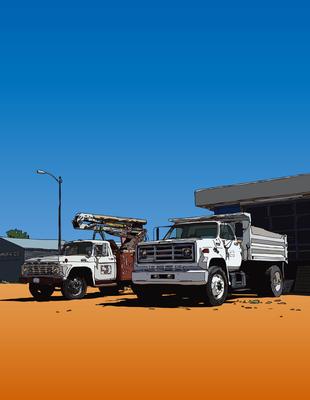 Workhorses on the road. Seligman, AZ セリグマンのワークホース