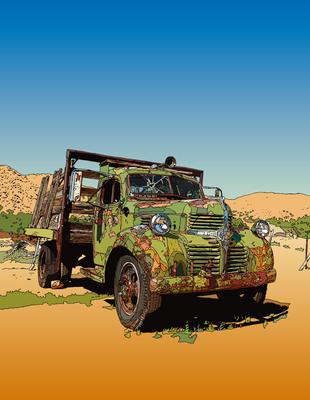 Old Truck on the road. Hackberry, AZ ハックベリーのオールド・トラック