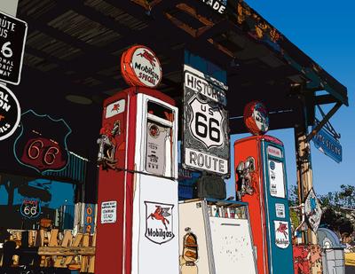 Vintage Gas Pump on the road. Hackberry, AZ ハックベリーのガスポンプ