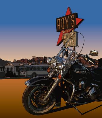 Roy's Cafe on the road. Amboy, CA ロイズのサインとモーターサイクル