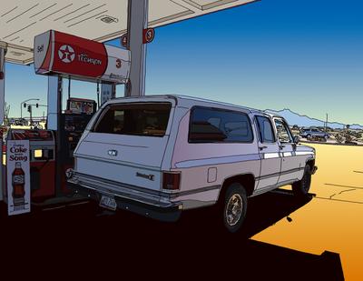 Huge SUV on the road. 旅する大型SUV