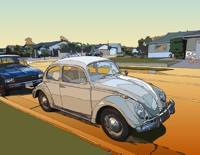 Bug on the road. LosAngeles, CA ロスの街角のカブトムシ