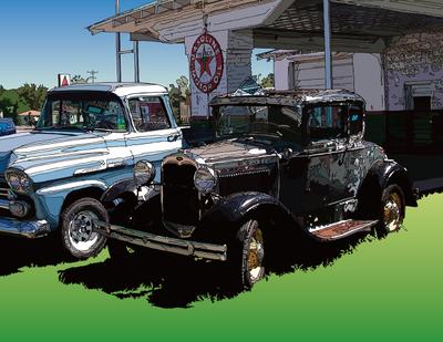 Model-A on the road. somewhere in KS ロードサイドのモデルA