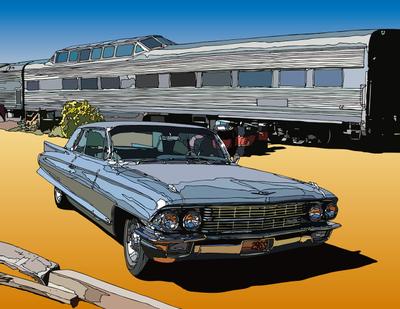 Fullsize Sedan on the road. SantaFe, NM サンタフェステーションのフルサイズセダン