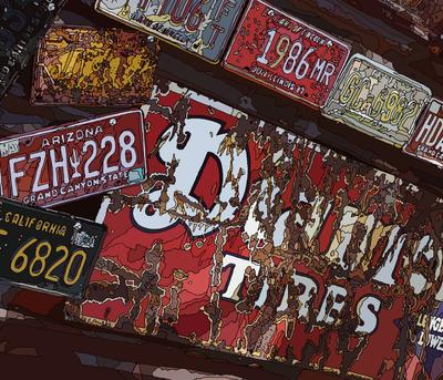 Rusty Decoration on the road. Hackberry, AZ ハックベリーの錆びたデコレーション