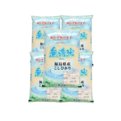 無洗米!令和2年産福島県中通り産コシヒカリ5kgx5本