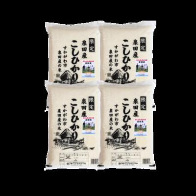 産地限定米!令和2年産福島県須賀川市泉田産コシヒカリ20kg