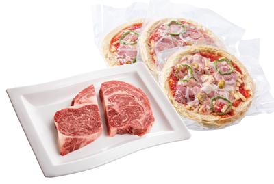 但馬牛リブロースステーキ&宍粟ハムのピザセット
